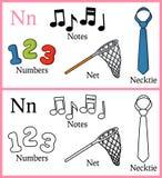 Книжка-раскраска для детей - алфавит n иллюстрация вектора