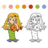 Книжка-раскраска для детей: Характеры хеллоуина (русалка) Стоковая Фотография