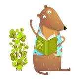 Книжное обучение считывания знаков плюшевого медвежонка младенца иллюстрация штока