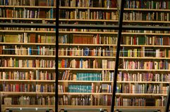 Книжные полки библиотеки заполненные с книгами Стоковая Фотография RF