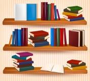 Книжные полки с цветастыми книгами Стоковая Фотография