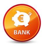 Кнопка банка (piggy знака евро коробки) особенная стекловидная оранжевая круглая иллюстрация вектора