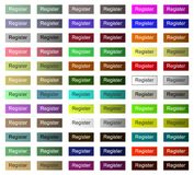 Кнопка вебсайта или регистра применения, щелчок tumbnail весь цвет иллюстрация штока