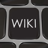 Кнопка вебсайта ключа компьютера Wiki редактирует информацию Стоковое Изображение RF