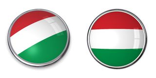 кнопка Венгрия знамени Стоковая Фотография RF