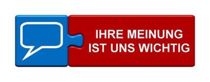 Кнопка головоломки: Ваша обратная связь имеет значение немец Стоковое Изображение RF