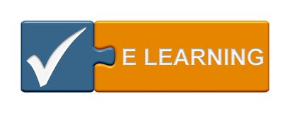 Кнопка головоломки: eLearning Стоковое Изображение