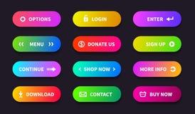 Кнопка действия градиента Знамя загрузки магазина, плоский овальный интерфейс, кнопки навигации ui сети Приложение игры вектора м бесплатная иллюстрация