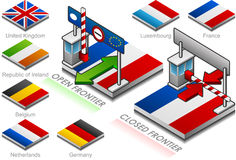 кнопка закрыла границу флага открытую Стоковая Фотография