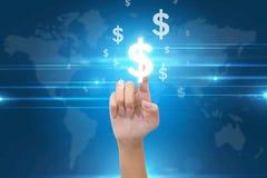 Кнопка знаков доллара отжимать руки Стоковое Изображение