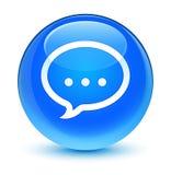 Кнопка значка беседы стекловидная cyan голубая круглая Стоковое Фото