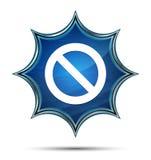 Кнопка значка запрета волшебная стекловидная sunburst голубая иллюстрация вектора