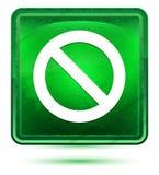 Кнопка значка запрета неоновая салатовая квадратная иллюстрация вектора