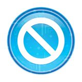 Кнопка значка запрета флористическая голубая круглая иллюстрация вектора