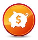 Кнопка значка знака доллара копилки особенная стекловидная оранжевая круглая иллюстрация штока