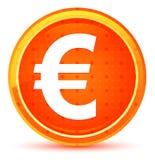Кнопка значка знака евро естественная оранжевая круглая иллюстрация штока