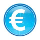 Кнопка значка знака евро флористическая голубая круглая иллюстрация вектора