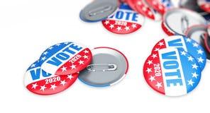 Кнопка значка избрания голосования для 2020 предпосылки, голосование США 2020, 3D иллюстрация, перевод 3D иллюстрация штока