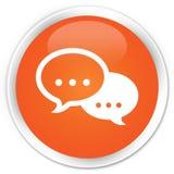 Кнопка значка пузыря беседы наградная оранжевая круглая Стоковые Фотографии RF