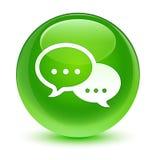 Кнопка значка пузыря беседы стекловидная зеленая круглая Стоковые Изображения RF