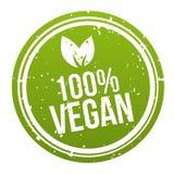 Кнопка 100% значка Vegan зеленого цвета Вектор Eps10 Стоковая Фотография RF