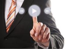 Кнопка игры давления руки Стоковое Фото