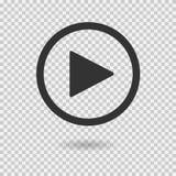 Кнопка игры с тенью на прозрачной предпосылке