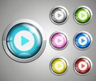 кнопка игры 3d лоснистая стоковое фото rf