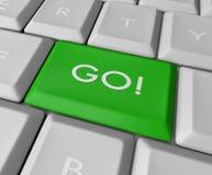 кнопка идет зеленый ключ Стоковое Фото