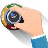 Кнопка или переключатель ручки доверия Высокий уровень доверия иллюстрация вектора