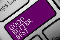 Кнопка клавиатуры высокого профессионализма достижения повышения качества увеличения смысла концепции текста почерка хорошая лучш стоковое фото rf