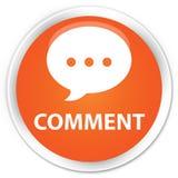 Кнопка комментария (значка переговора) наградная оранжевая круглая Стоковое Фото