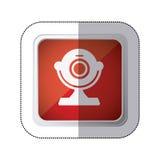 кнопка красной площади стикера с прибором компьютера веб-камера силуэта бесплатная иллюстрация