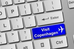 Кнопка клавиатуры Копенгагена посещения голубая Стоковая Фотография