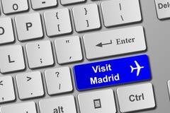 Кнопка клавиатуры Мадрида посещения голубая Стоковые Изображения RF
