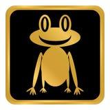 Кнопка лягушки на белизне Стоковое Изображение RF