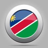 Кнопка металла с флагом Намибии Стоковое фото RF