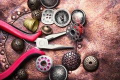 Кнопка металла шить Стоковое Изображение RF