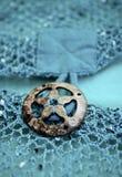Кнопка морских звёзд на блузке шнурка вязания крючком Teal Стоковые Изображения RF