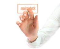 кнопка нажимая женщину разрешения Стоковое Фото