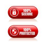 кнопка 100 обеспеченная Стоковая Фотография RF