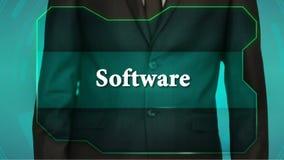 Кнопка обратного нажима бизнесмена на экране касания программное обеспечение надписи акции видеоматериалы