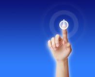 Кнопка отжимать руки ВКЛЮЧЕНЫЙ-ВЫКЛЮЧЕНАЯ Стоковое Изображение