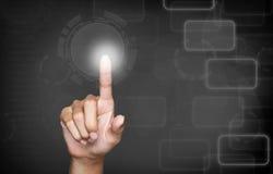 Кнопка отжимать руки в серой предпосылке Стоковые Фото