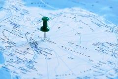 Кнопка офиса указывая на назначение на карте Антарктике, южном полюсе Антарктика стоковая фотография rf