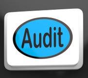 Кнопка проверки показывает утверждение или осмотр аудитора Стоковые Изображения RF