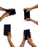 Кнопка руки человека касающая на smartphone Стоковое фото RF