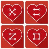 Кнопка сердец шьет ВЛЮБЛЕННОСТЬ бесплатная иллюстрация