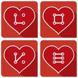 Кнопка сердец шьет ВЛЮБЛЕННОСТЬ иллюстрация вектора