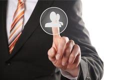 Кнопка сети отжимать руки социальная стоковые изображения